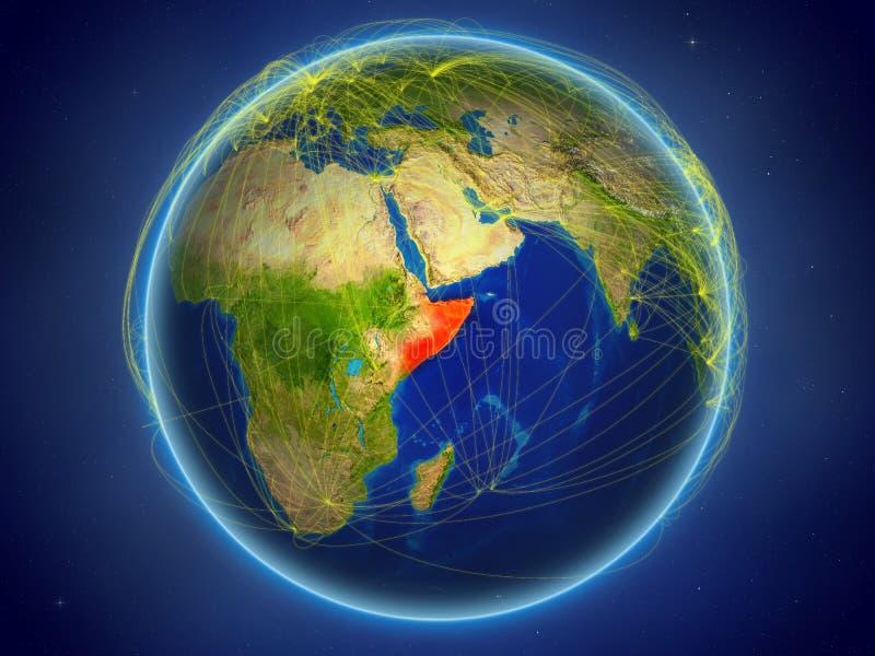 Somalië ter wereld met netwerken stock illustratie
