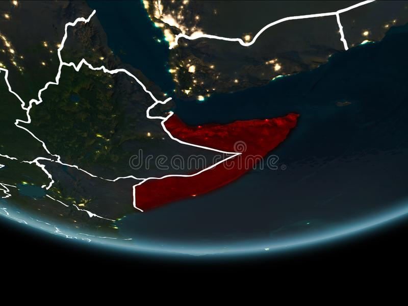 Somalië ter wereld van ruimte bij nacht vector illustratie