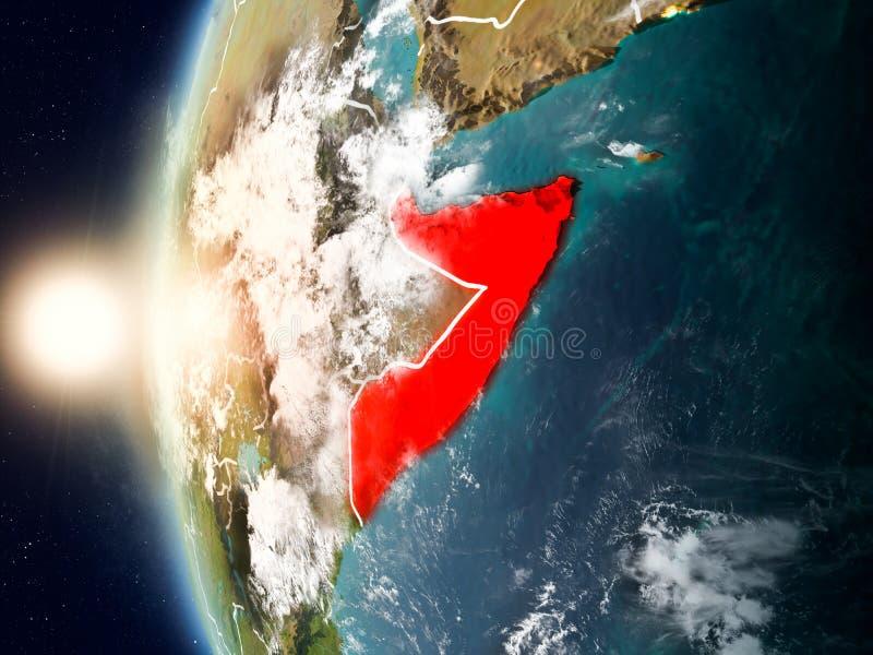 Somalië tijdens zonsondergang ter wereld royalty-vrije illustratie