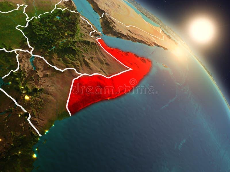 Somalië van ruimte tijdens zonsopgang stock illustratie