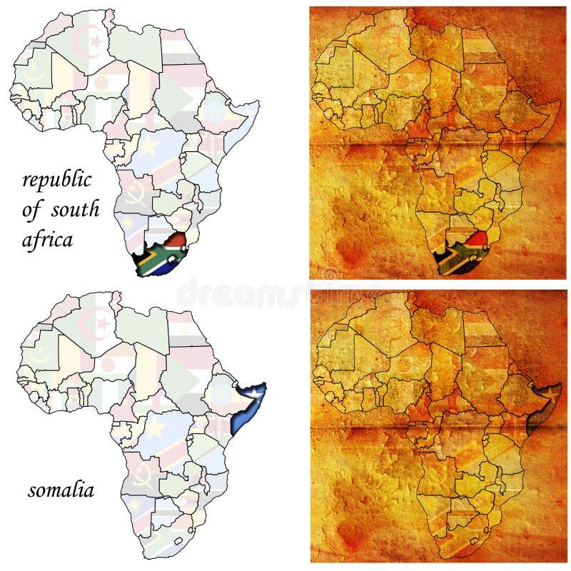 Somalia&rsa auf Afrika-Karte lizenzfreie abbildung