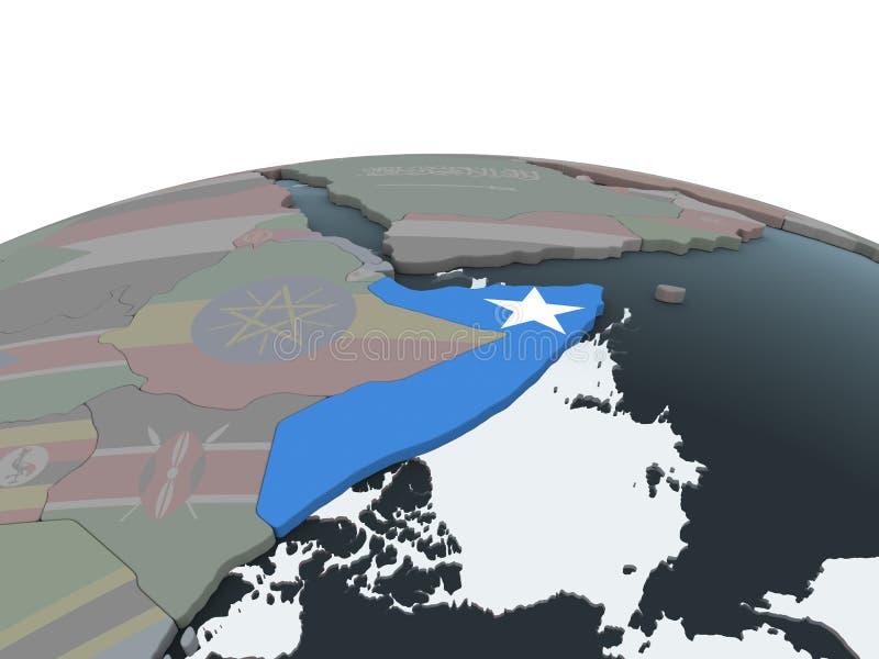 Somalia con la bandera en el globo libre illustration