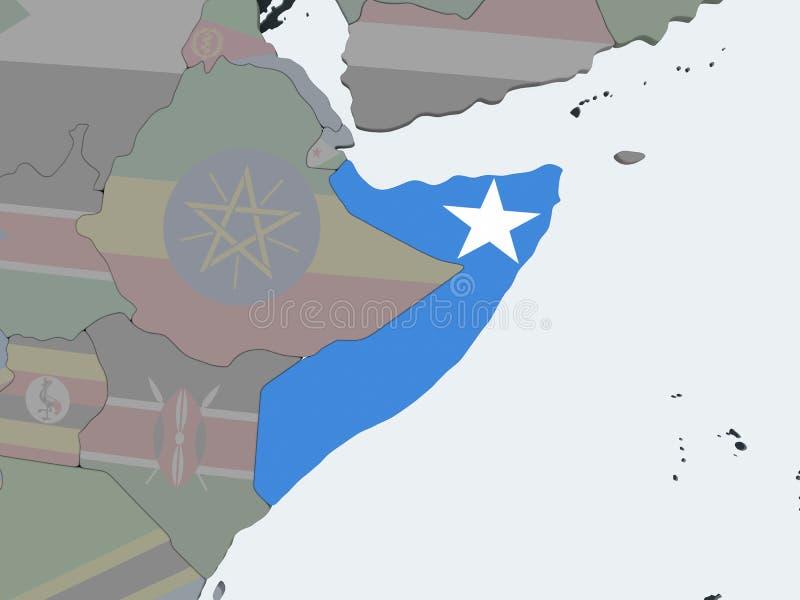 Somalia con la bandera en el globo stock de ilustración