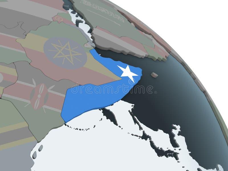 Somalia con la bandera en el globo ilustración del vector