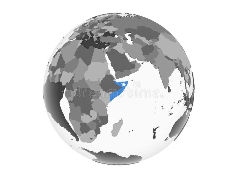 Somalia con la bandera en el globo aislado libre illustration