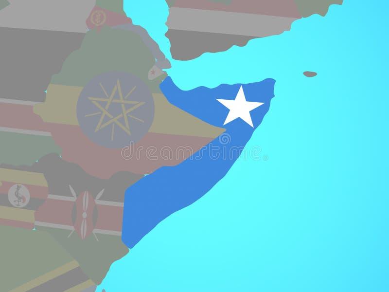 Somalia con la bandera en mapa stock de ilustración