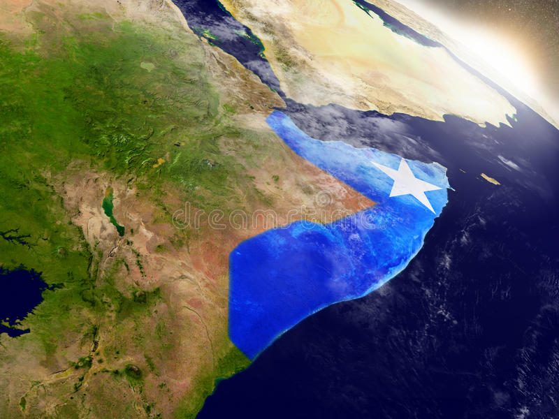 Somalia con la bandera en sol naciente stock de ilustración