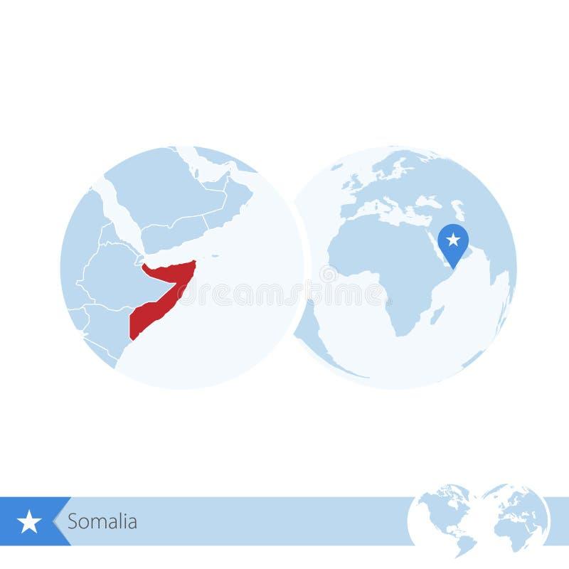 Somalia en el globo del mundo con la bandera y el mapa regional de Somalia libre illustration