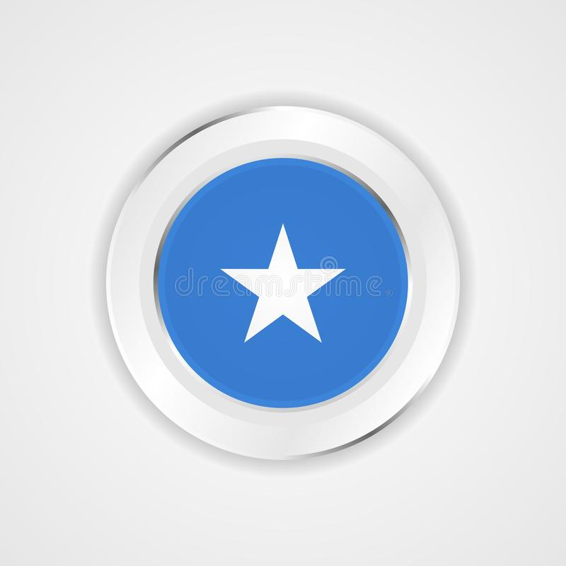 Somalia flagga i glansig symbol royaltyfri illustrationer