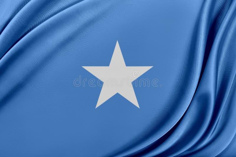 Somalia flagga med en glansig siden- textur royaltyfri illustrationer