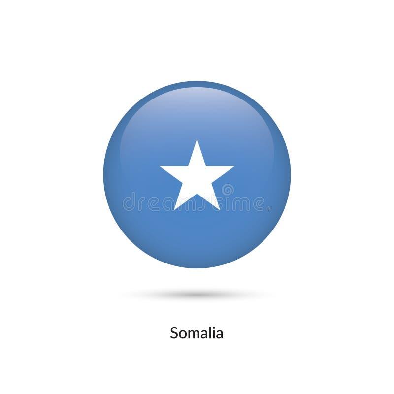 Somalia flagga - rund glansig knapp vektor illustrationer