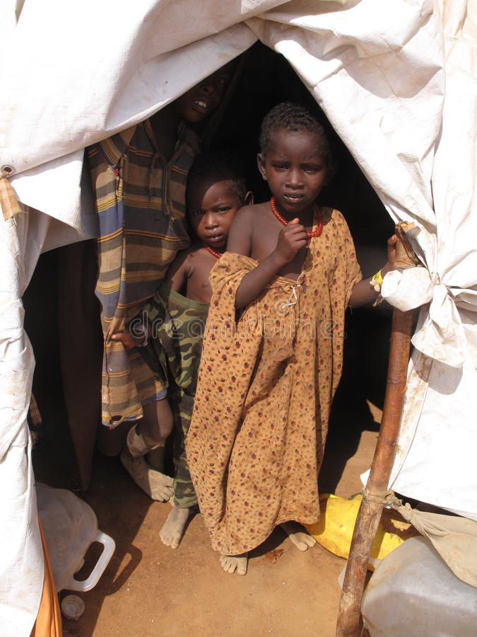 Somalia Hunger Refugee Camp. SOMALÄ°A-15-AUGUST 2011: Hunger for Somalis living in Dadaab refugee camp,Somalia stock photos
