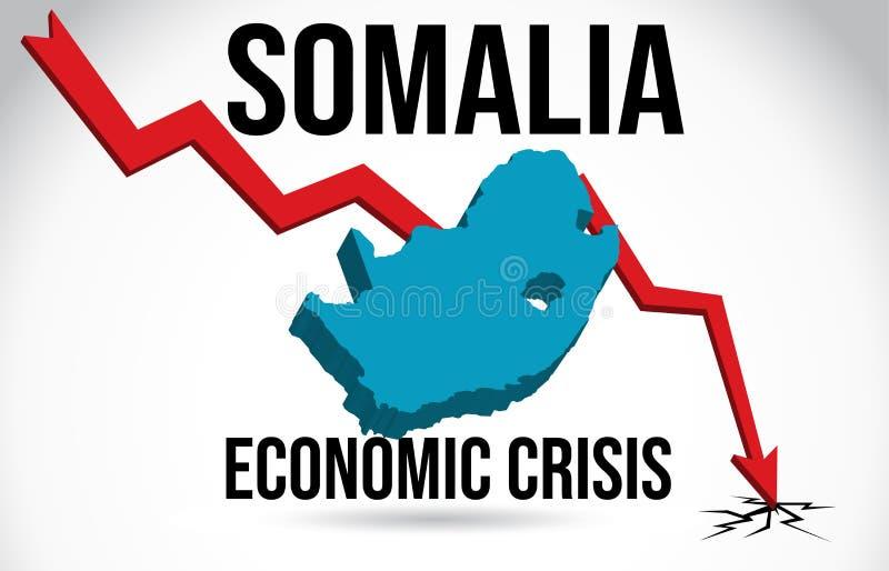 Somalia Map Financial Crisis Economic Collapse Market Crash Global Meltdown Vector. Illustration stock illustration