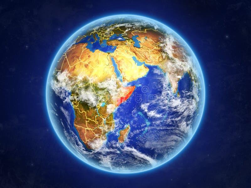 Somalia på jord från utrymme royaltyfri illustrationer