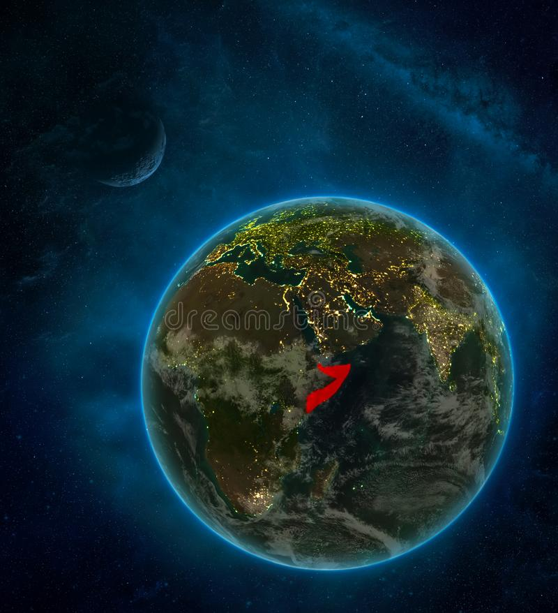 Somalia from space on Earth at night surrounded by space with Moon and Milky Way. Detailed planet with city lights and clouds. 3D. Illustration. Elements of vector illustration