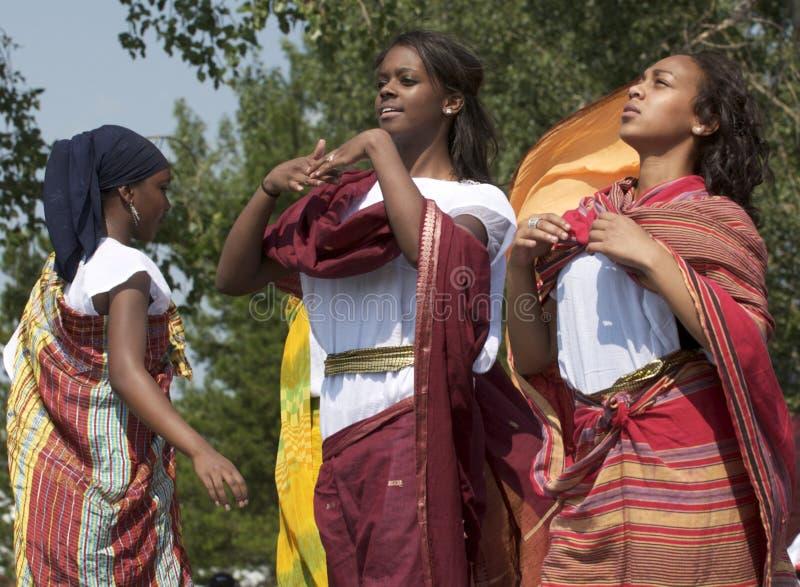 Somalian Girls. Dancing at Edmonton's Heritage Festival royalty free stock photo