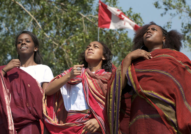 Somalian Girls dancing. Young women performing a dance at Edmonton's Heritage Days stock photography