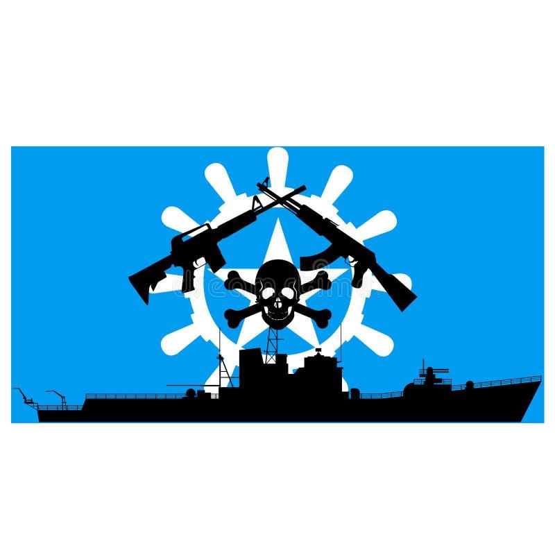 Somaliskt piratkopierar royaltyfri illustrationer