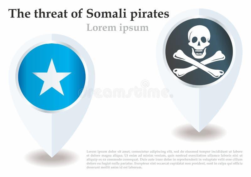 Somaliskt piratkopierar flaggauppsättningen, nyheterna om en annan händelse med somaliskt piratkopierar Mall för nyheterna- och i vektor illustrationer