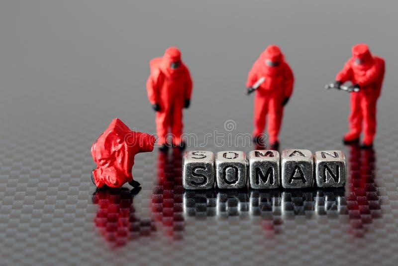 Soman sur des perles avec une équipe modèle miniature de chemicall images stock