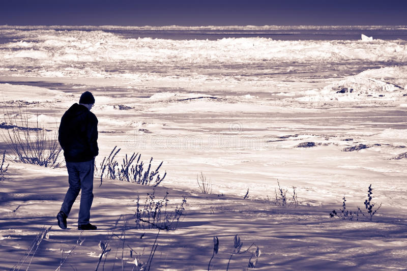 Somber Winter Beach. Tall man alone on a cold and depressing winter beach stock photos