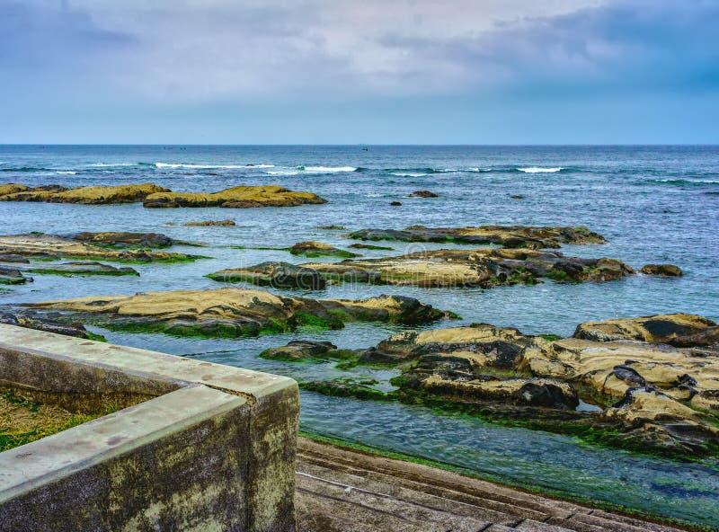 Sombere dag op de kust van Chiba, Japan royalty-vrije stock foto