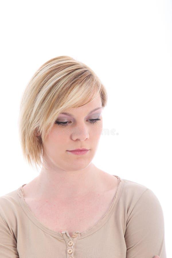 Sombere droevige jonge vrouw royalty-vrije stock afbeeldingen