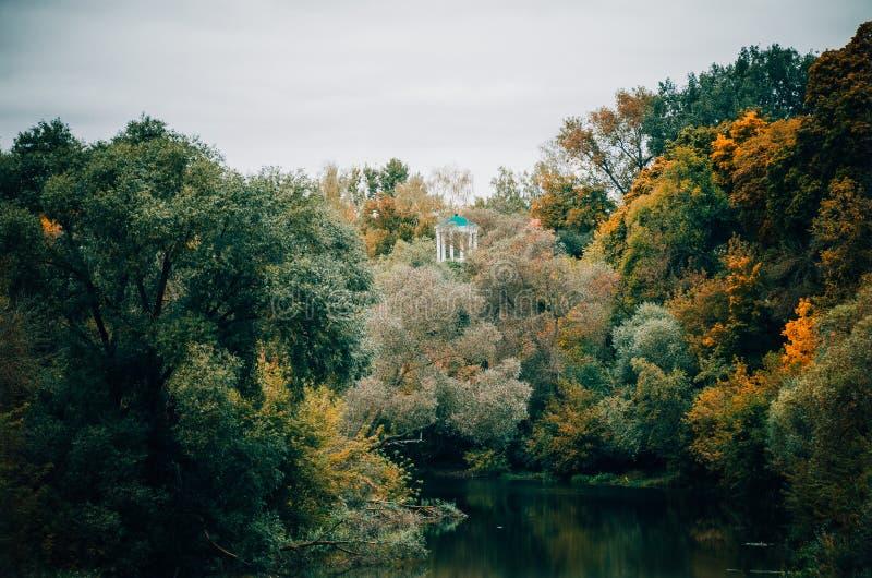 Sombere hemel, rivier en de herfstbomen stock fotografie