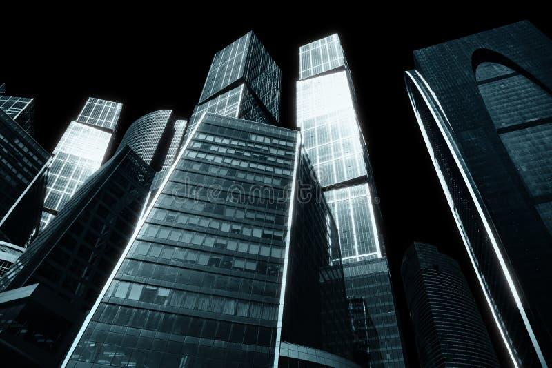 Sombere stad van wolkenkrabbers stock fotografie