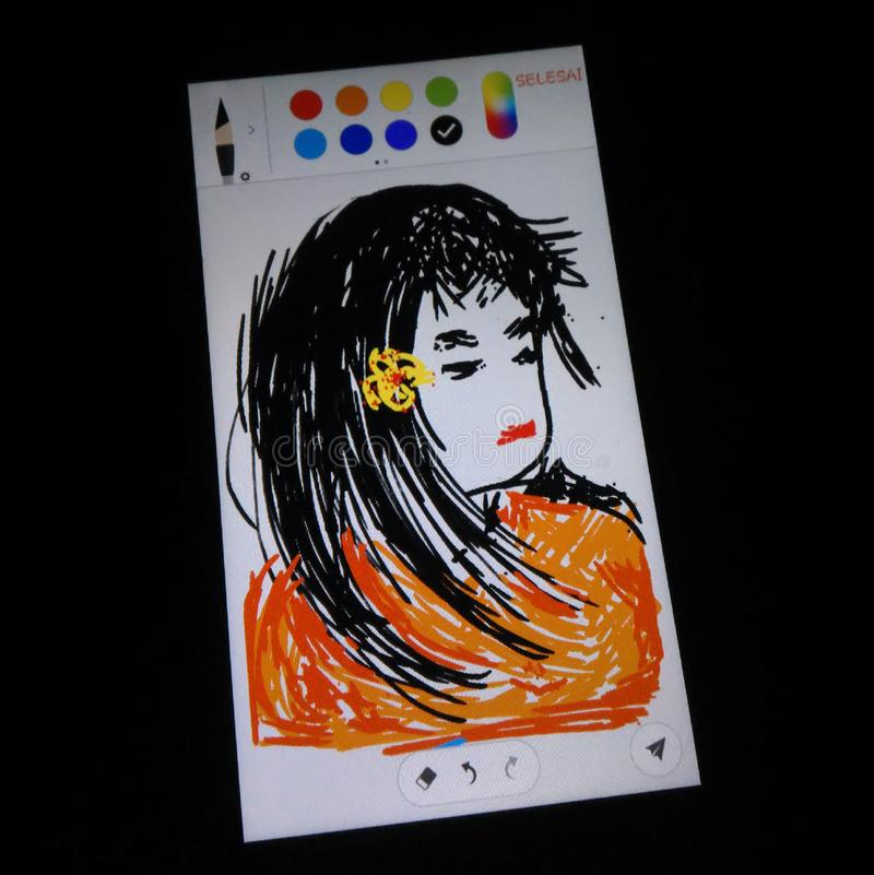 Sombere vrouw in tekeningstoepassing royalty-vrije illustratie