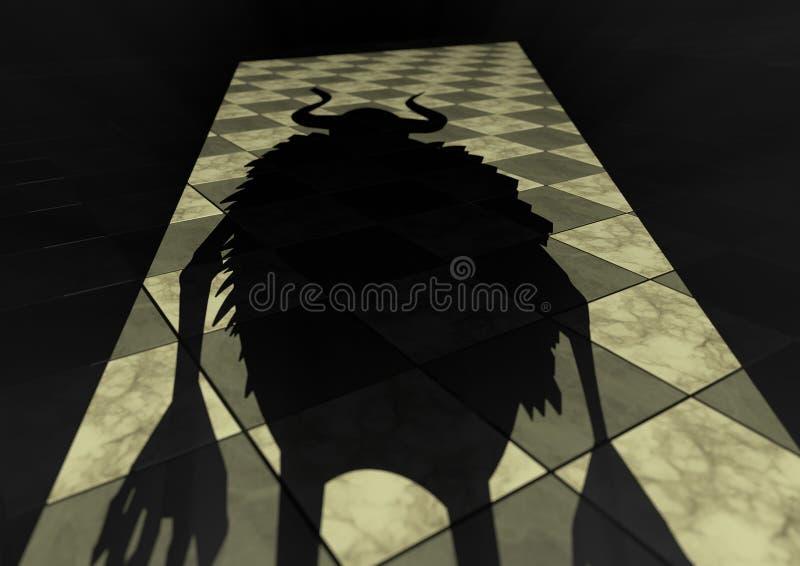 Sombra assustador do monstro na parte dianteira da entrada ilustração do vetor