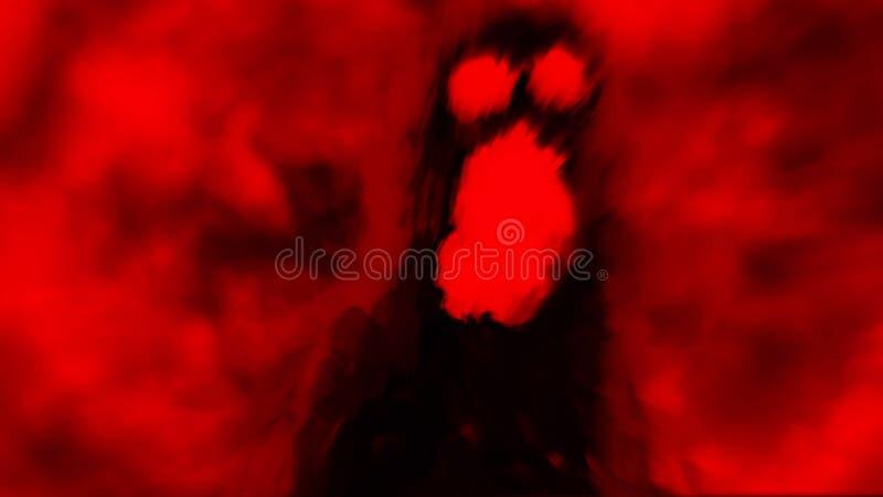 Sombra assustador do monstro no fundo vermelho ilustração stock