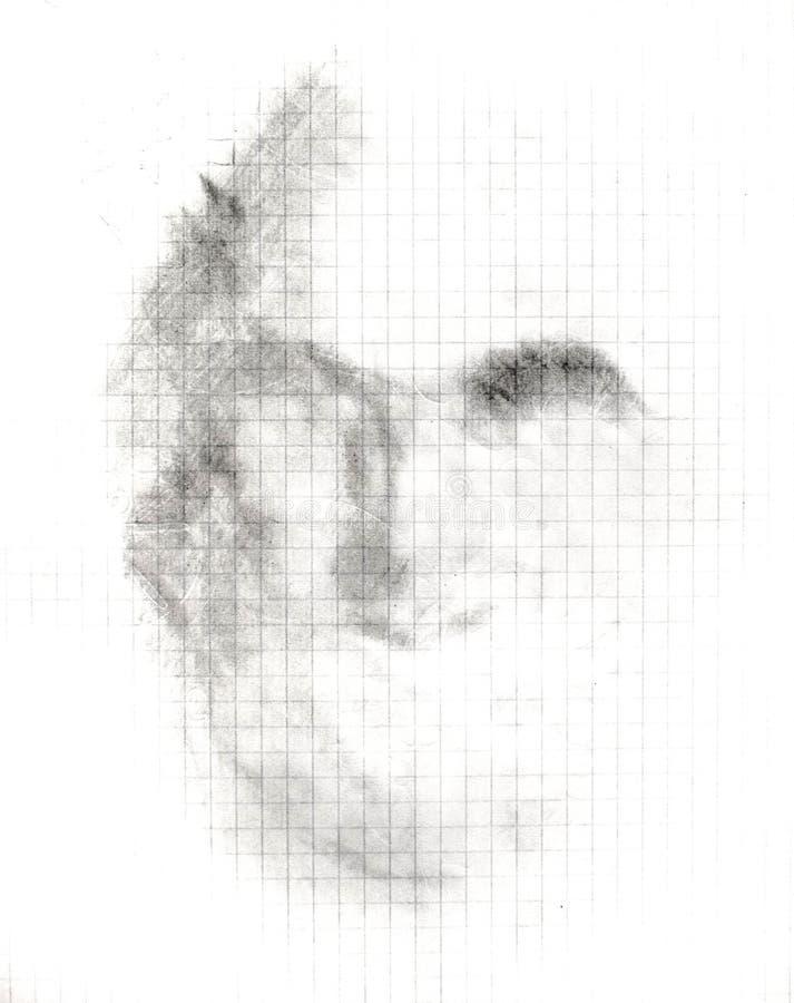 A sombra da equipa a cara em uma folha do caderno, um lápis simples, um esboço foto de stock