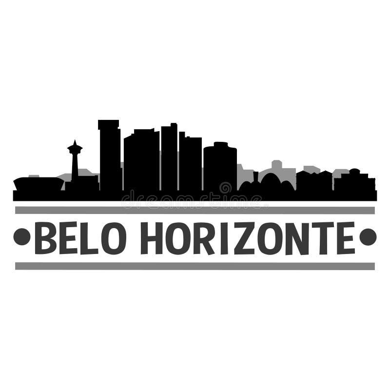 Sombra de Art Design Skyline Night Flat del vector del icono de Belo Horizonte el Brasil Suramérica stock de ilustración