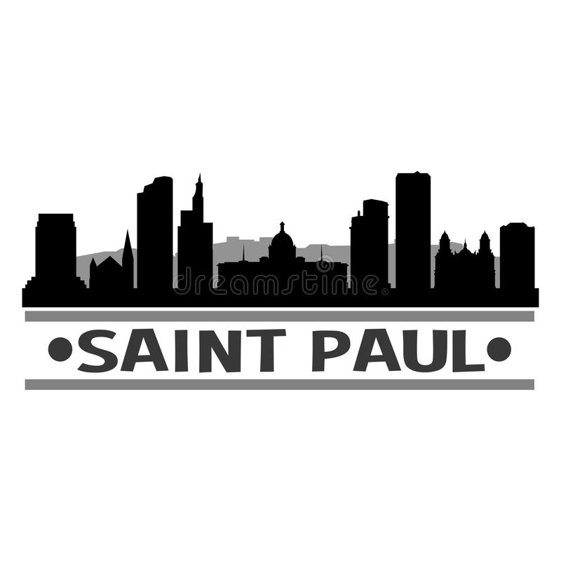 Sombra de Art Design Skyline Night Flat del vector del icono de Paul Minnesota United States Of América los E.E.U.U. del santo ilustración del vector
