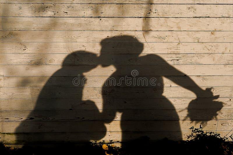 A sombra de beijar recém-casados no fundo de madeira imagem de stock royalty free