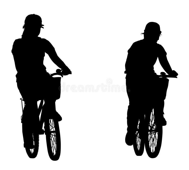 Sombra de la bici del montar a caballo de la mujer Esto tiene clippin stock de ilustración