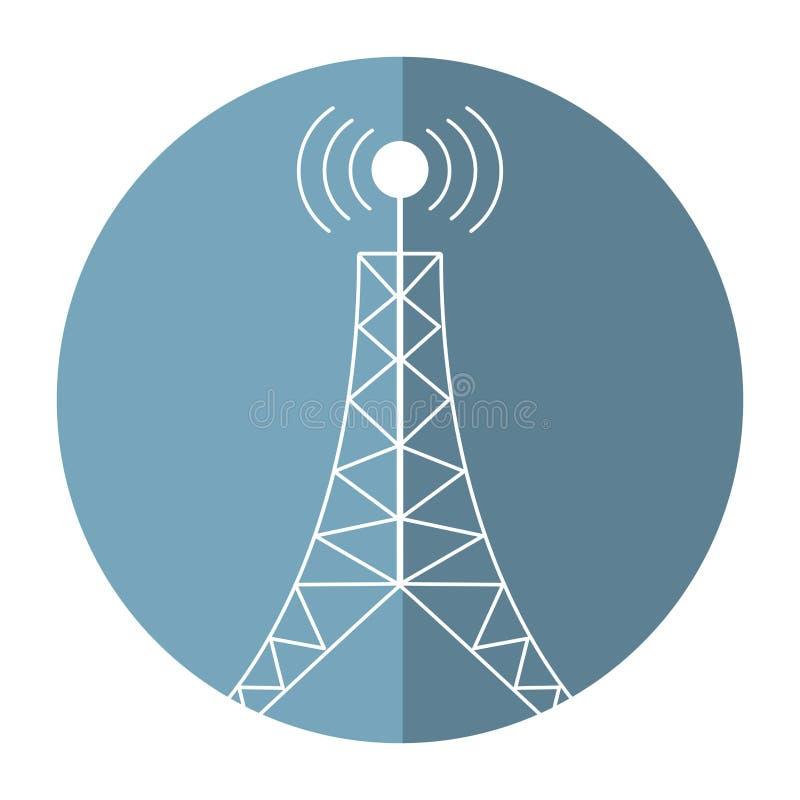 sombra de la conexión de la difusión de la torre de antena stock de ilustración