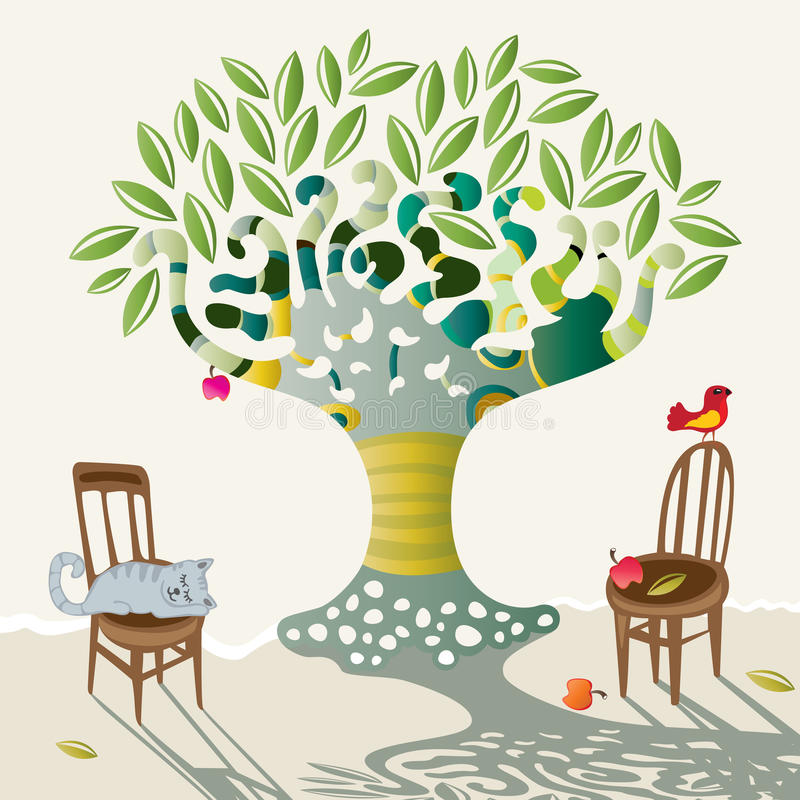 Sombra de la manzana grande stock de ilustración