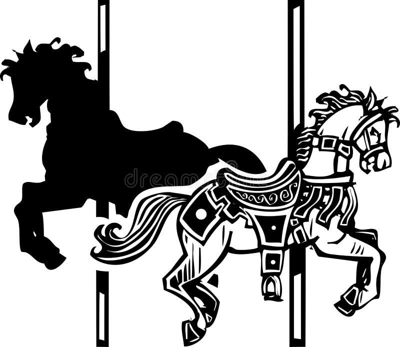 Sombra de madera del caballo del carrusel stock de ilustración