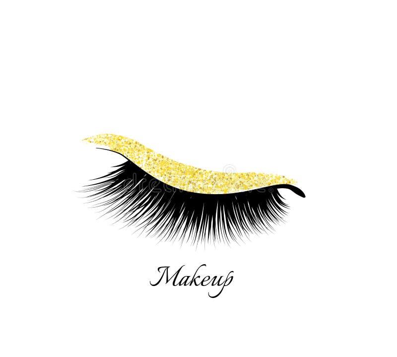 Sombra de ojos del maquillaje Brillante de oro Ojo cerrado Pestañas naturales El encanto compone stock de ilustración