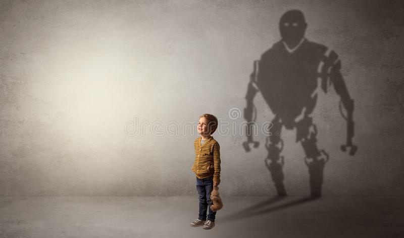 Sombra de Robotman de um rapaz pequeno bonito ilustração do vetor