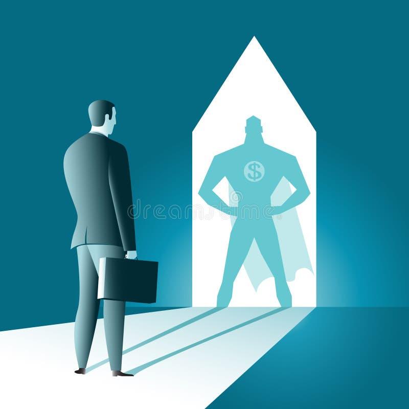 Sombra de um herói do homem ilustração royalty free