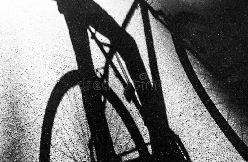 Sombra de uma bicicleta e de um ciclista no asfalto, preto e branco fotos de stock royalty free