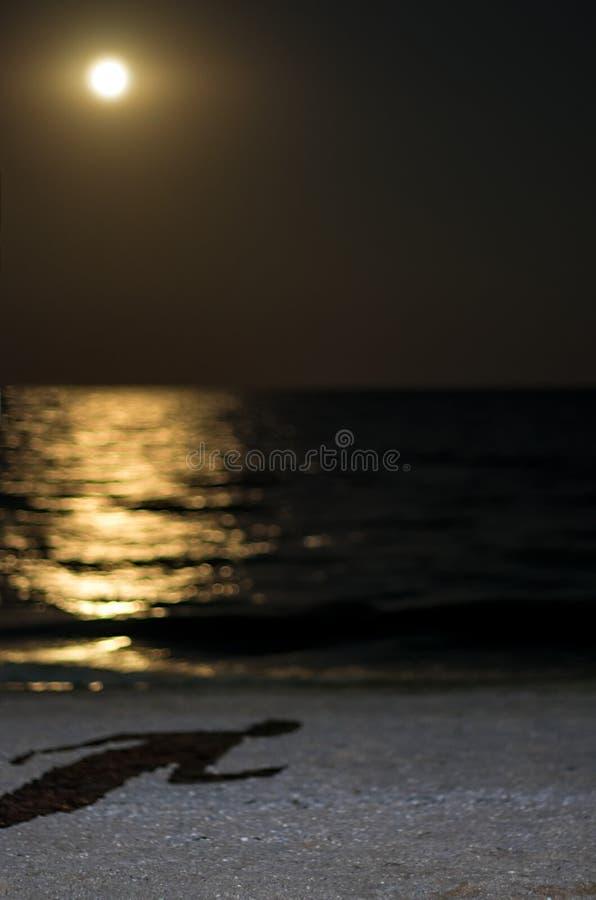Sombra de un hombre corriente en la playa del mar, claro de luna fotos de archivo libres de regalías