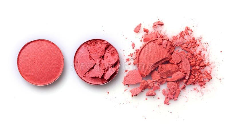 Sombra deixada de funcionar alaranjada redonda para a composição como a amostra de produto cosmético imagem de stock