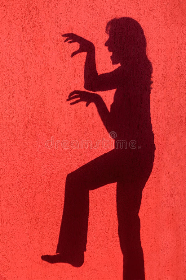 Sombra del perfil de la mujer en la pared roja fotografía de archivo