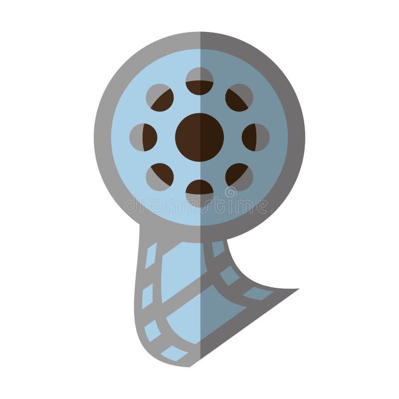 Sombra do ícone da roda do filme do filme do carretel ilustração stock
