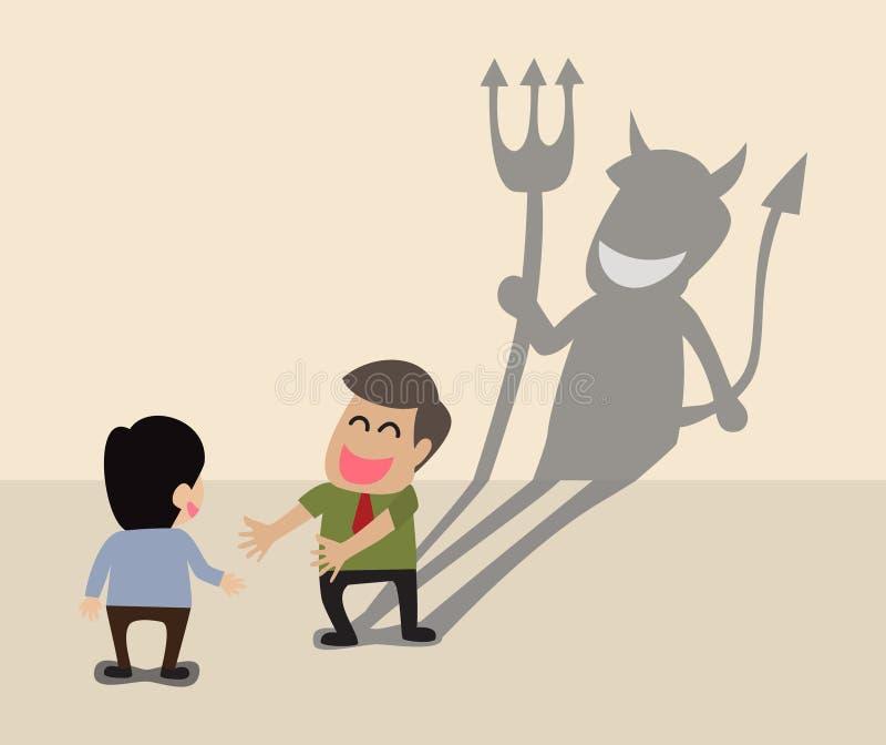Sombra do diabo atrás de uma cara de sorriso do negócio dois ilustração royalty free