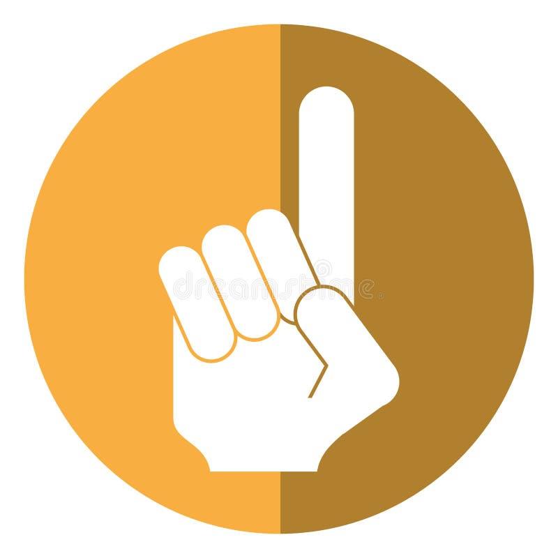 Sombra do futebol americano do fã da mão do número um ilustração do vetor
